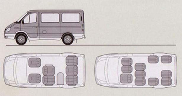 ГАЗ 2217 Соболь - расположение сидений в авто