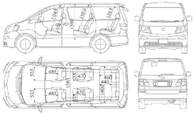 Toyota Alphard - схема и размеры